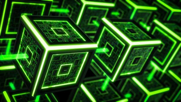 Блок цепи, современный фон технологии sci fi.