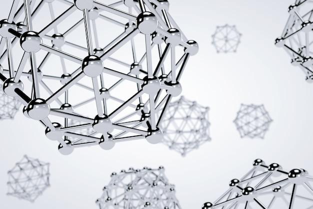 흰색 바탕에 과학 추상 분자입니다. 3d 렌더링 프리미엄 사진