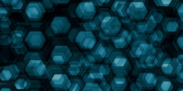 科学技術の背景抽象的な六角形の3dイラスト