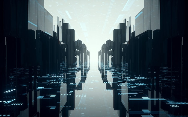 光の効果シーンのある科学技術空間