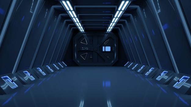 Science background fiction interior rendering sci-fi spaceship corridors blue light.
