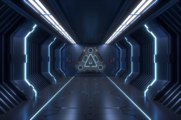 Наука фон фантастика интерьер рендеринг научно-фантастический космический корабль коридоры синий свет