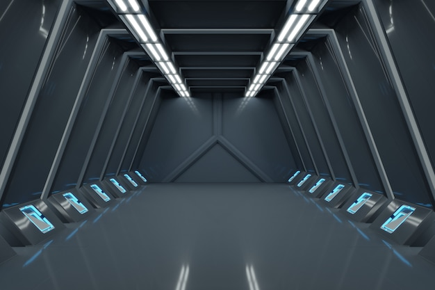 Science background fiction interior rendering sci-fi spaceship corridors blue light.