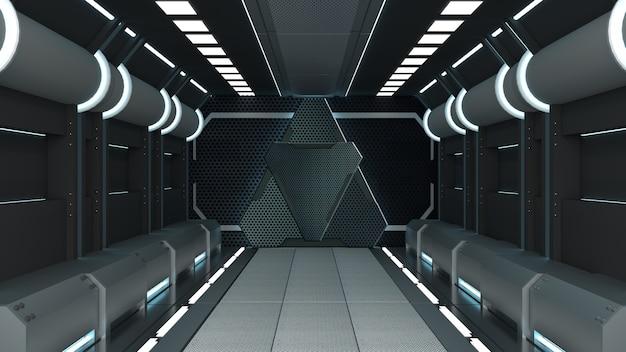 Science background fiction interior rendering sci-fi spaceship corridors blue light