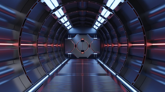 공상 과학 배경 소설 인테리어 렌더링 공상 과학 우주선 복도 붉은 빛, 3d 렌더링