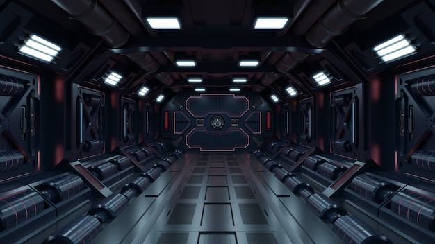 Science background fiction interior rendering sci-fi spaceship corridors red light.