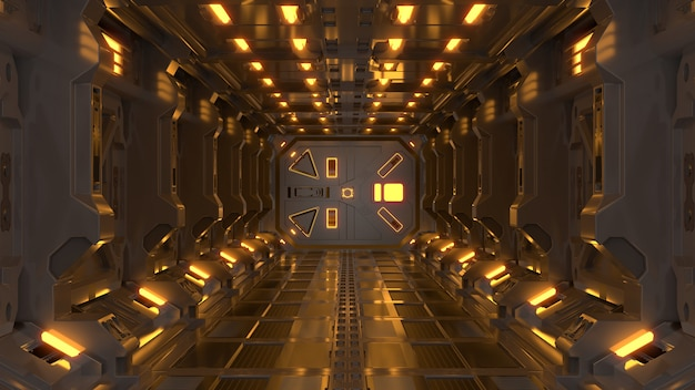 Science background fiction interior rendering sci-fi spaceship corridors yellow light.
