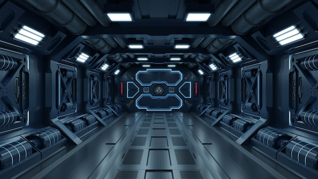 Наука фон фантастика интерьер комнаты научно-фантастический космический корабль коридоры синий.