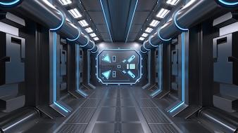 Science background fiction interior room sci-fi spaceship corridors blue