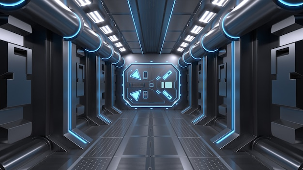 Science background fiction interior room sci-fi spaceship corridors blue