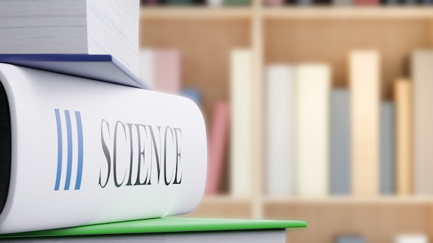 Science book on table in libraly, back to school concept 3d rendering