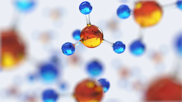 Science composition with molecules and atoms