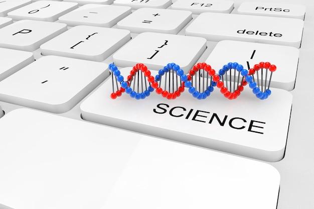 Концепция науки. экстремальный крупным планом витая цепь днк на клавиатуре