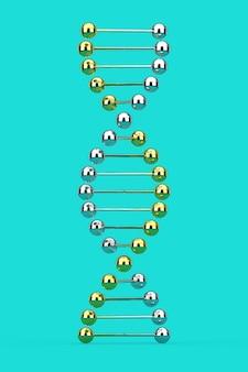 과학 개념입니다. 파란색 배경에 금속 dna 분자 나선형입니다. 3d 렌더링