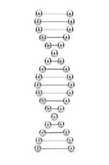 과학 개념입니다. 흰색 바탕에 금속 dna 분자 나선형입니다. 3d 렌더링