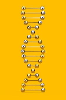 과학 개념입니다. 노란색 배경에 금속 dna 분자 나선형입니다. 3d 렌더링