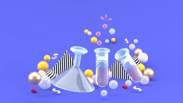 Science experiments  tubes amid colorful balls on purple. 3d rendering.