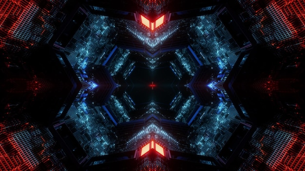 Science fiction 3d illustration abstract background design with glowing colorful neon illumination inside of dark endless tunnel