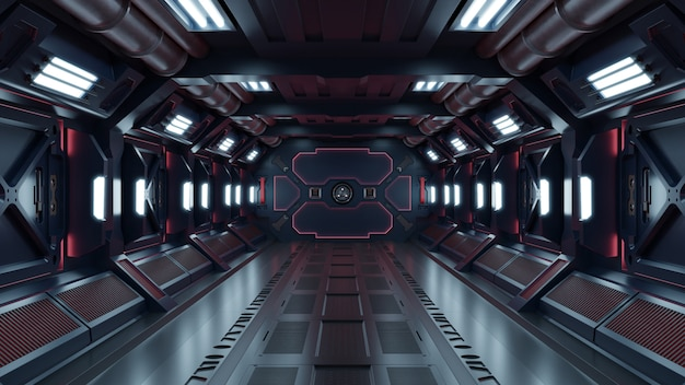 Science fiction interior rendering sci-fi spaceship corridors red light.