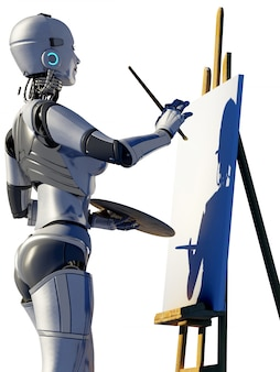 Science fiction robot artist painting in blank canvas