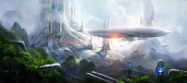 공상 과학 장면.