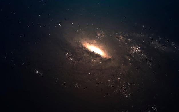 Визуализация научно-фантастического пространства. галактика в тысячах световых лет от земли. элементы этого изображения, предоставленные наса