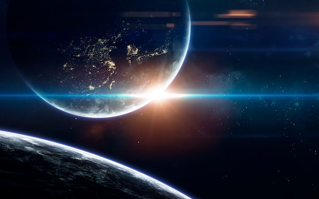 Science fiction space wallpaper, incredibly beautiful planets, galaxies, dark and cold beauty of endless universe.