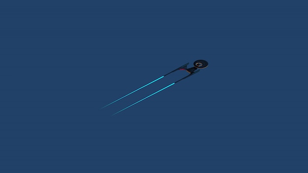 Science fictional image of a starship in deep space and blue background.