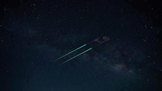 Science fictional image of a starship in deep space and milky way