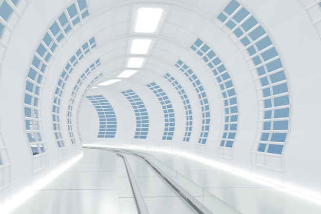 Science friction way or railway tunnel, 3d illustrations rendering