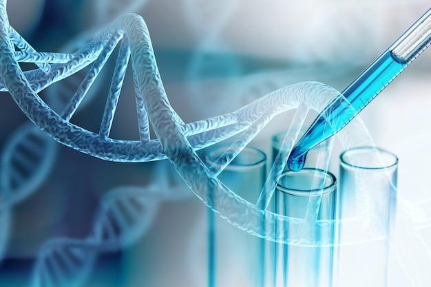 과학 실험실 테스트 튜브 및 dna 구조