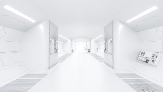 과학 랩 및 최종 선택적 초점 공상 과학 복도에서 빛