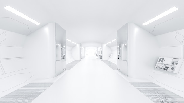 Science lap and over light at end selective focus sci-fi corridor