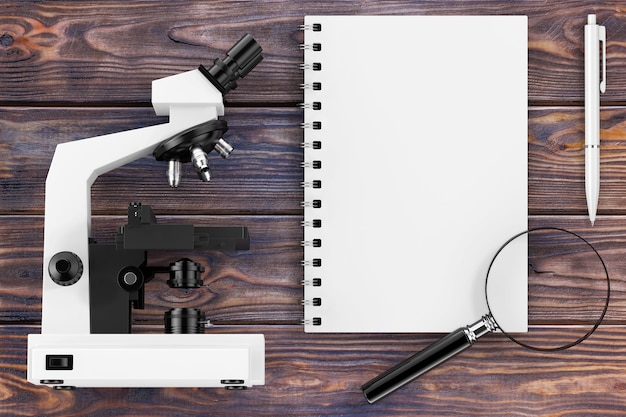 Наука или концепция обучения. микроскоп, увеличительное стекло и тетрадь с ручкой над деревянным столом крайним крупным планом. 3d рендеринг