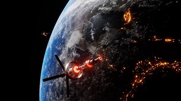 天文学研究のために夜の間に星の間で地球上に浮かぶ科学宇宙船