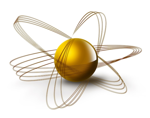 Science symbol with abstract atom on a white background