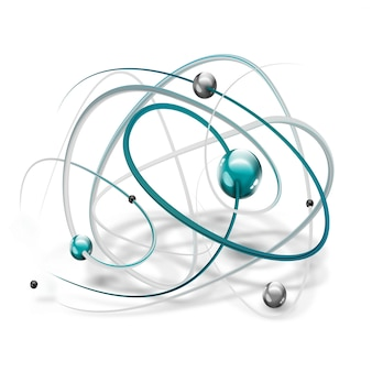 흰색 바탕에 추상 분자와 과학 기호