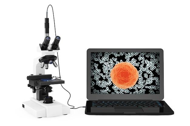 과학 기술 개념입니다. 현대 실험실 현미경은 흰색 바탕에 화면에 박테리아와 바이러스가 있는 노트북에 연결되어 있습니다. 3d 렌더링.
