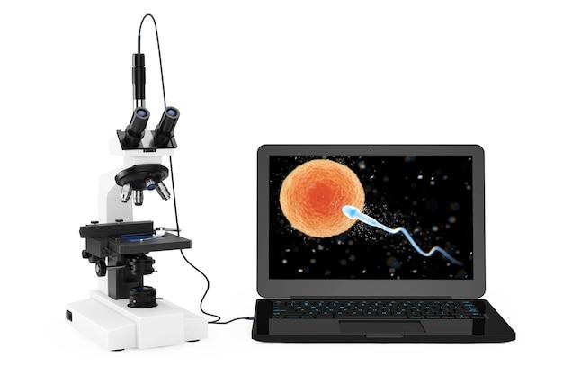 과학 기술 개념입니다. spermatozoon이 흰색 배경에 있는 화면의 ovule 보기로 이동하는 랩톱에 연결된 현대적인 실험실 현미경입니다. 3d 렌더링.