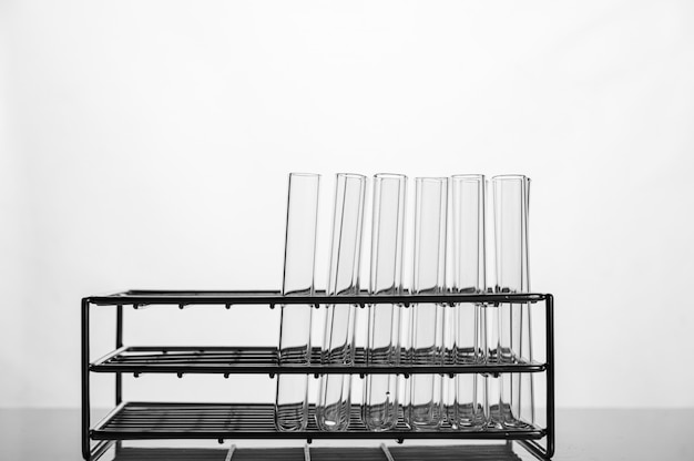 Science tubes arranged on the shelf