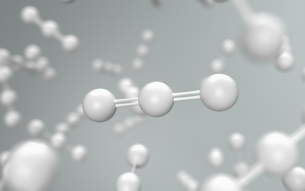 Science with white molecule or atom background, carbon dioxide structure for science, 3d render.