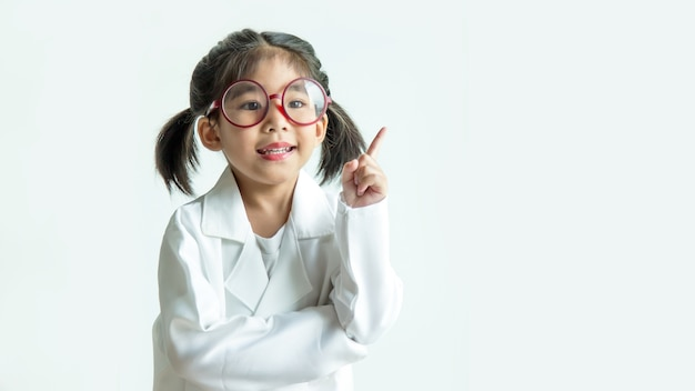 Scienctist asian girl with big glasses and science suite have good idea action on white screen.
