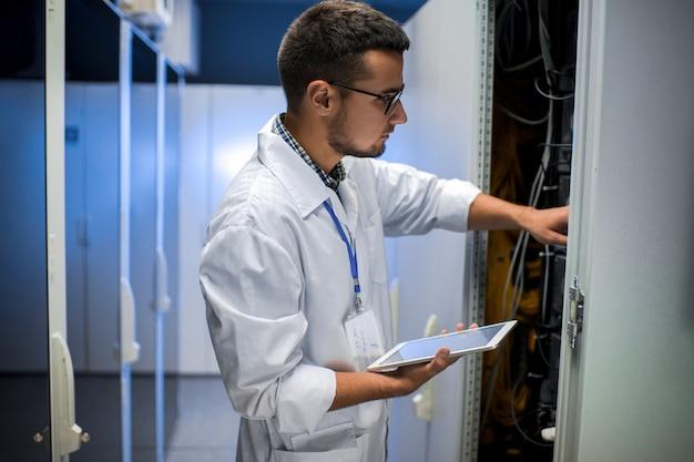 Scientist in data center