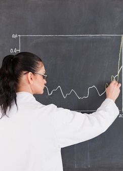 Scientist drawing charts on the blackboard