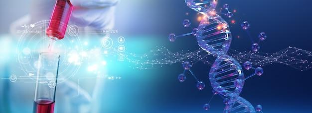 液体の生物学的サンプルを保持している科学者。医療技術研究所のコンセプト
