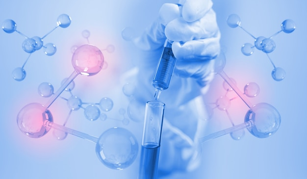 Scientist holding liquid biological sample. medical technology research institute concept