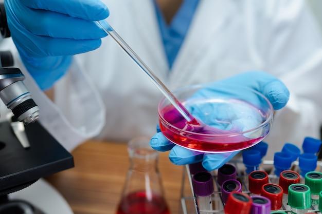 실험실에서 배양 접시를 들고 과학자입니다.