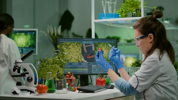 Scientist injecting strawberry with pesticides discovery genetic mutation