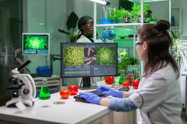미생물학 실험을 위해 컴퓨터에 생화학 전문 지식을 입력하는 과학자 여성 연구원. 유전 돌연변이를 분석하는 제약 실험실에서 일하는 의료 팀.