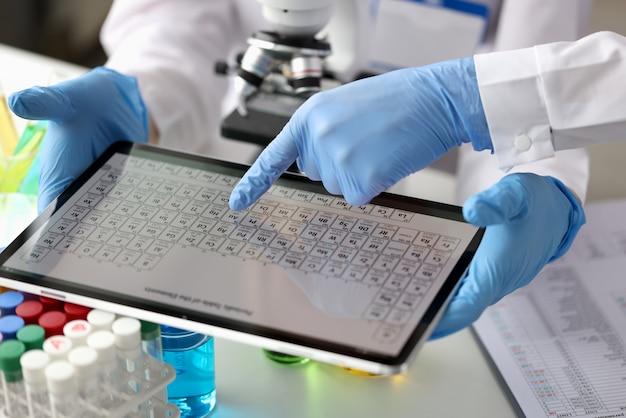 実験室で元素の周期表を持つデジタルタブレットを見ている科学者化学者